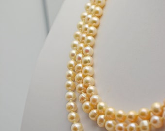 HALF off Wedding Necklace. 3 Strands Fresh Water Pearl Necklace w/ Creamy color, lustrous. Sterling Box Clasp. Classically Beautiful Brides