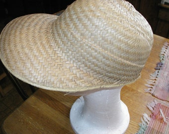 Vintage Straw Beach Hat Cap with Front Brim  Adult Woman Small