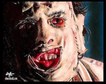 """Drucken 8 x 10""""- Leatherface - Texas Chainsaw Massacre Horror Halloween 70er Jahre Vintage dunkel Kunst Blut Freddy Jason beängstigend Pop unheimlich Blut"""