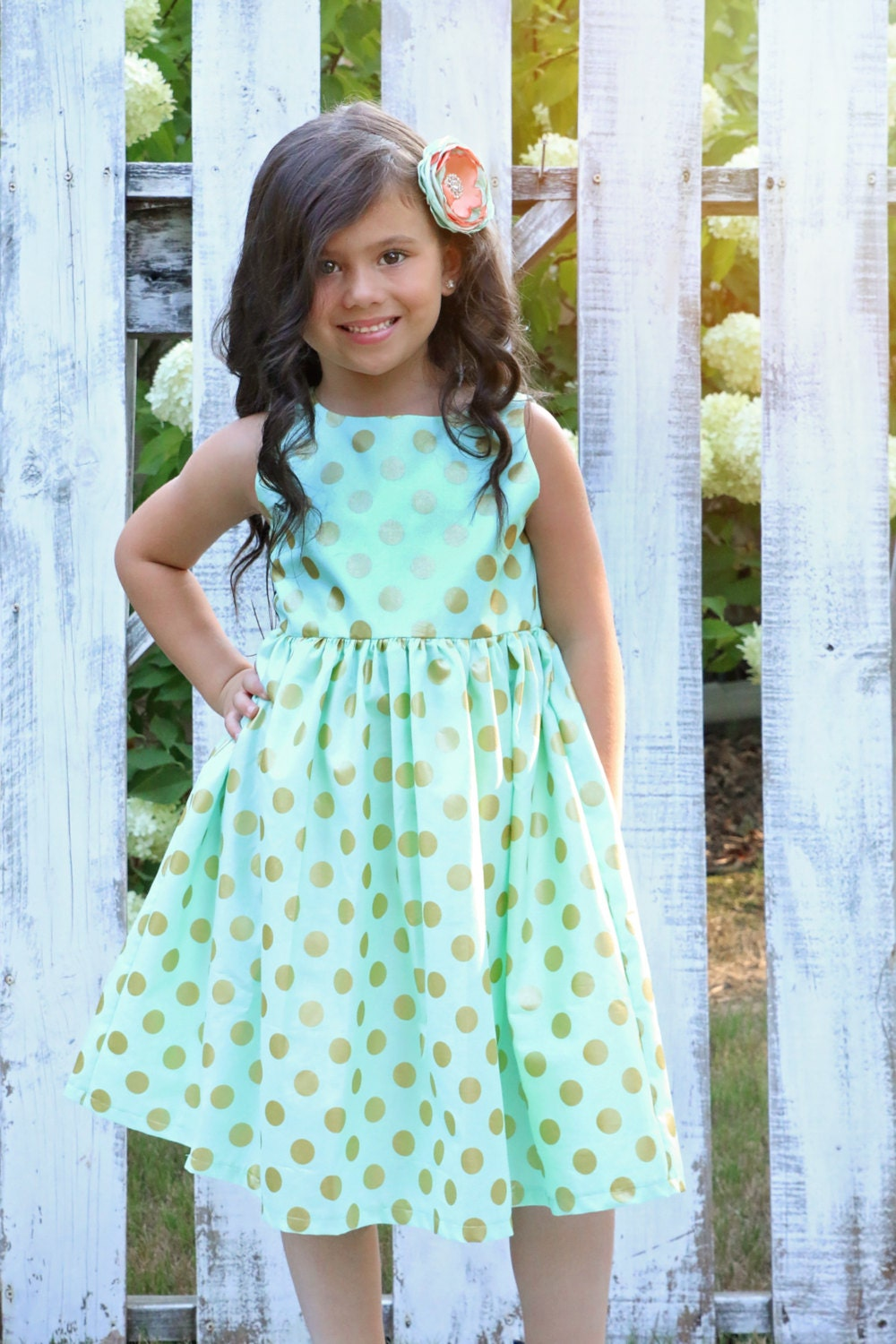 Girls Mint Dress with Pearlized Gold Polka Dots - Party Dress ...