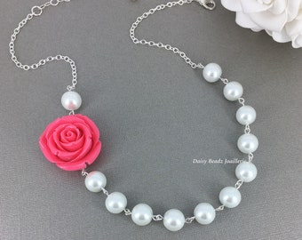 Fuchsia Rose Necklace Flower Necklace Pearl Necklace Bridesmaids Necklace Rose Necklace Statement Necklace Bridesmaids Jewelry