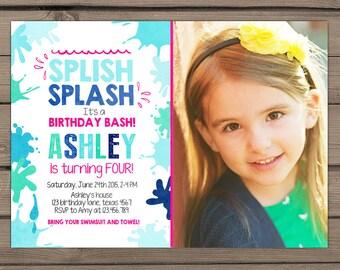 Splish Splash Birthday Invitation Pool Party Splish Splash Party Beach Party Pool birthday bash Girl birthday pink Digital PRINTABLE ANY AGE