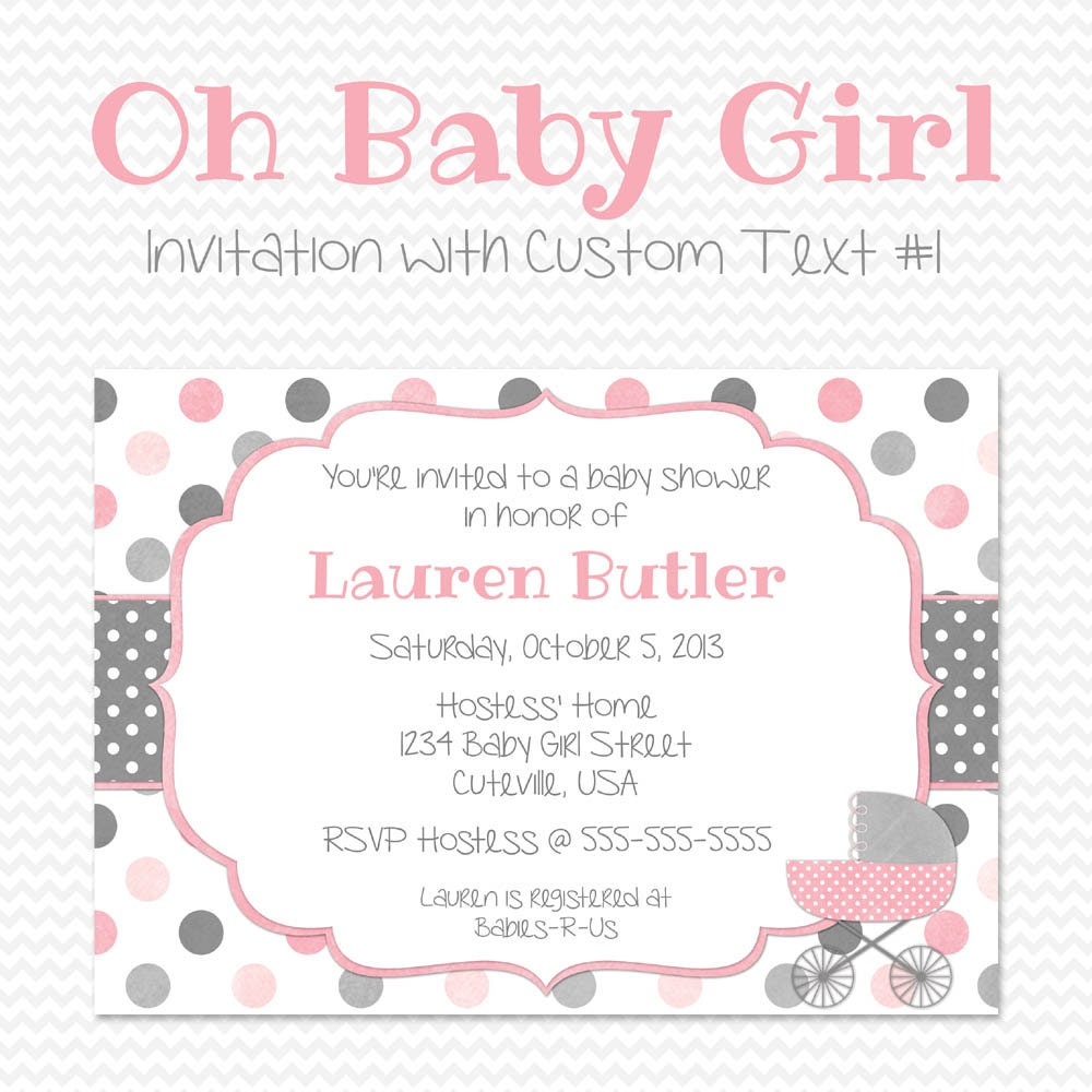 Pink and Gray Baby Shower Invitation Shabby Cottage Chic