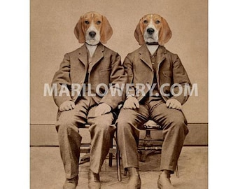 Dogs in Suits Art, 8 x 10 Inch Print, Beagle Art, Twin Brothers, Masculine Wall Art, Animals in Clothes, Nursery Decor, Year of the Dog