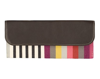 Leather French striped artisan envelope clutch
