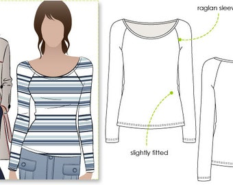 Samantha Top - Sizes 10, 12, 14 - Women's Top PDF Sewing Pattern by Style Arc for Printing at Home