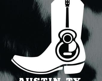 Austin TX Guitar Boot Vinyl Decal Sticker