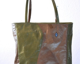 David shopper, recycled leather, beige and green, free shipping
