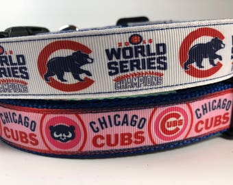 """Handcrafted 1"""" Cubs World Series Or Cubs Pink Dog Collar"""