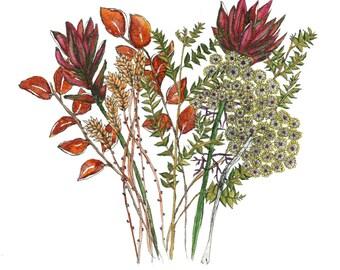 Autumn Bouquet, Botanical Print, Floral Print, Watercolor bouquet, Flowers, Ink Pen
