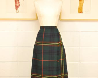 1960's/70's Green with Red, Navy, and Yellow Plaid Kilt / Winter Skirt / Rare Collectable Retro