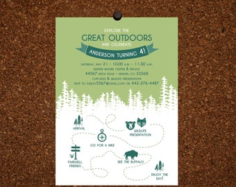 Digital File / Camping Birthday Invitation / Great Outdoors