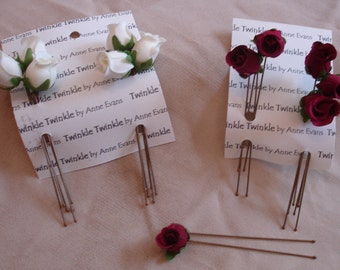 Hairpins - Large fabric White Rosebuds ( set of 6 pins)