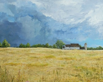 Landscape Painting - Country Print - Sky Painting - Farm Art - Matted Print