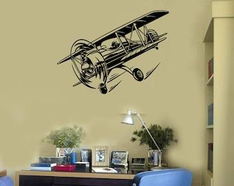 Retro Airplane Vinyl Wall Decal Aviation Child Room Decor Art Stickers Mural (#2615di)