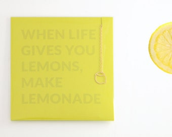 Lemon Necklace, Charm Necklace, Delicate necklace, Necklace Card, Gift Necklace, Stocking Stuffer, Holiday Gift, Gift for Mom, Gift for Girl