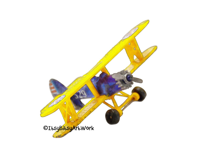Airplane Biplane Aviation Art Print Digital Watercolor Decor