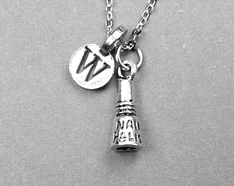 Nail Polish Necklace, Nail polish charm, beautician gift, personalized jewelry, initial necklace, monogrammed letter, initial jewelry charm