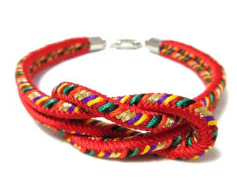 8colors Japanese Kumihimo Kimono Braided Bracelet with Magnetic Clasp 5S21 Handemade in Japan