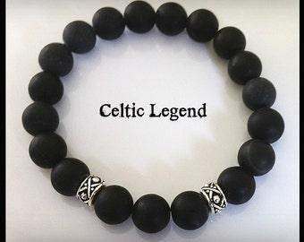 Men's Onyx Bracelet Outlander Inspired, Groomsmen Gift JAMMF Celtic Legend
