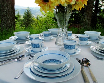 Vintage Noritake Cielito Lindo 2151 China Service for 6-8 - Blue and White Noritake Cook N Serve China - 50 pieces