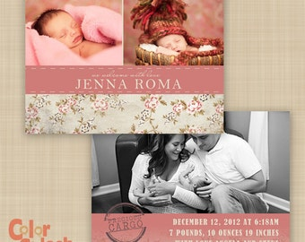 Shabby Chic Baby Girl Announcement - Feminine Birth announcement - Double Sided Card - Custom birth announcement
