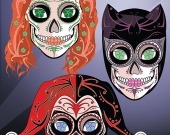Gotham Lady Rogues: Catwoman, Poison Ivy & Harley Quinn Sugar Skull Print 11x14 print