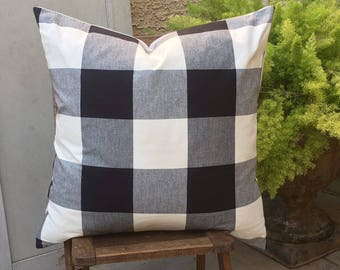 Black and White Buffalo Check   Farmhouse Pillow Cover   Huge Check Design