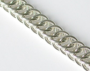 Half Persian Chainmaille Bracelet in Argentium Sterling Silver - Medium Weight