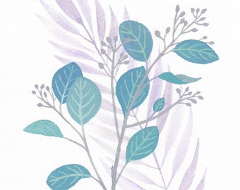 Printable Blue Eucalyptus and Palm Leaves Print
