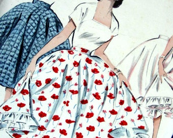 "Vintage  Butterick Pattern 6858  - Vintage 50s Circle skirt with Ruffled Petticoat - UNCUT - Waist 23"" or 24"""