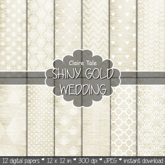 "Gold digital paper: ""SHINY GOLD WEDDING"" with gold damask, crosshatch, quatrefoil, flowers, lace, polka dots, hearts, triangles, stripes"