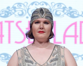 Juliet hand embellished head piece Cap Charleston Great Gatsby Flapper Vintage inspired 20s Downton Abbey Art Deco Speakeasy