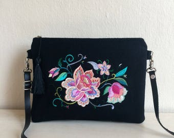 Embroidered Crossbody Bag,Black Cashmere Crossbody Bag,Embroidered Bag,Leather Strap Bag,Cashmere Crossbody,Black Wool Crossbody Bag