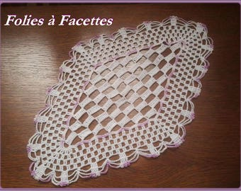 Oval doily, table centerpiece, white checkerboard crochet