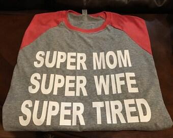 Super Mom Baseball Tee Raglan Tee
