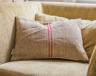 Small vintage Jute pillow cover/Hungarian antique red striped jute grain sack pillow case