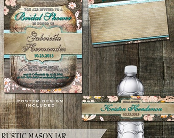 Rustic Mason Jar Bridal Shower Invitation and stationery party package -Mason Jar Invite with Rustic Wood Elements and  Flourish Elements