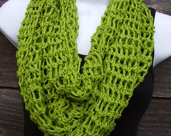 Infinity Scarf, Leaf Green, Cotton and Acrylic Blend, All-Season Scarf, 84 inches Long