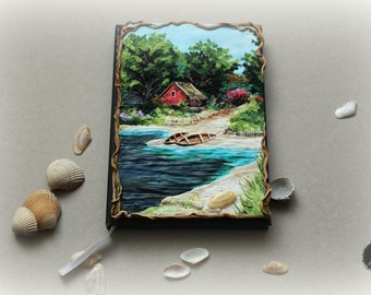 Lanscape inspired by The Wicher game from polymer clay notebook cover