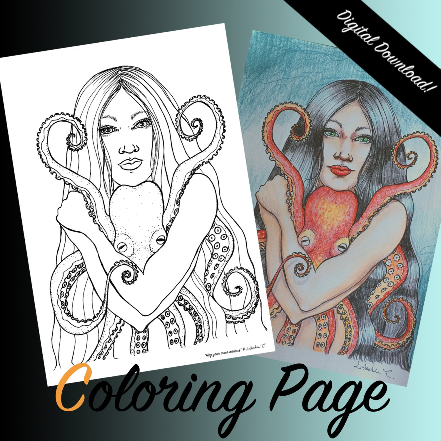 COLORING PAGE Hug Your Inner Octopus Coloring