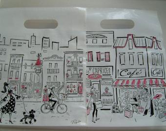 Plastic bags handle/Merchandise bags French street scene design/CUTE bag/ gift bag/9x11.5x2/retail bag/craft show merchandise bags