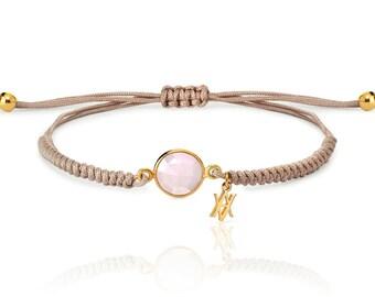 Macrame Gold plated silver bracelet, tiny bracelet, chalcedony stone silver bracelet, natural stone bracelet