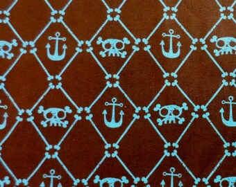 Anchor Fabric - Brown - Blue - Sailor Fabric - Pirate Fabric - Boy - Nursery Fabric - Nautical Fabric - Crossbones - Remnant