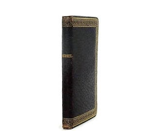 Antique French Prayer Book Oxblood Moroccan Leather with Decorative Gold Stamped Binding w/Mass of the Dead