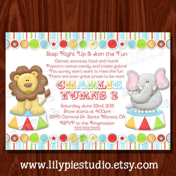 Items similar to Carnival Circus Themed Birthday Invitation