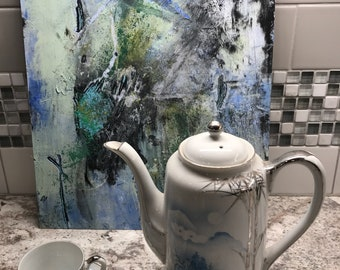 Green Tea 4, 11 by 14, oil and cold wax, original, one of a kind, blue, black, white, green, texture