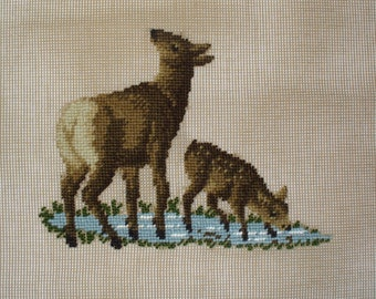 Deer Needlepoint Preworked Canvas, Doe and Fawn Wall Art, 18 x 18 inches Monica Imports
