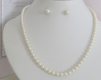 Bridal Jewerly Bridesmaids Pearl necklace Bridal Accessories Ivory Swavoski pearl necklace and earrings
