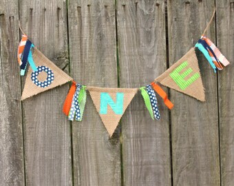 Burlap Banner for High Chair, First Birthday Banner 'ONE', custom high chair bunting, you pick colors/theme